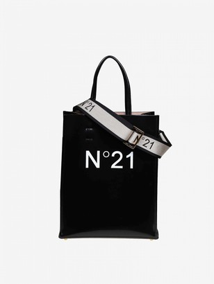 N°21 N deg; 21 Leather Bag With Logo Print