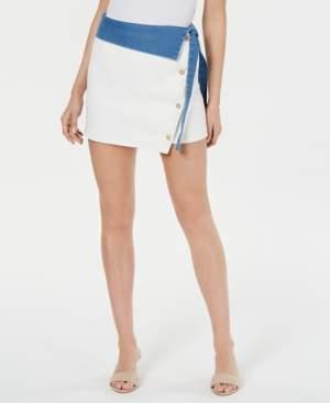 Line & Dot Colorblocked Denim Skirt