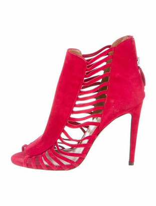 Aquazzura Suede Cutout Accent Sandals Red