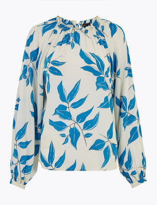 Marks and Spencer Leaf Print Relaxed Blouson Sleeve Blouse