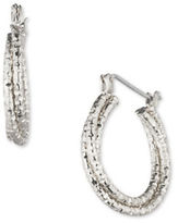 Anne Klein Diamond-Cut Silvertone Hoop Pierced Earrings