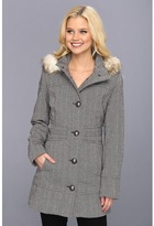 Esprit Herringbone Button Front Wool with Faux Fur Trim Hood (Grey/White) - Apparel