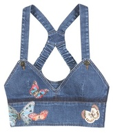 Valentino Denim Cropped Top With Appliqué