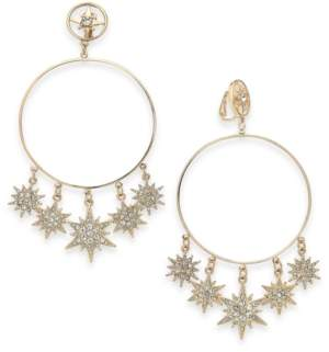 Thalia Sodi Gold-Tone Pave Shaky Star Clip-On Drop Hoop Earrings, Created For Macy's
