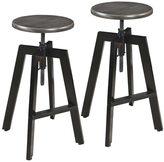 Argyle Set of 2 Adjustable Height Mango Wood Grey Iron Stool