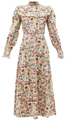 The Vampire's Wife The Firefly Floral-print Gathered Cotton Dress - Red Multi