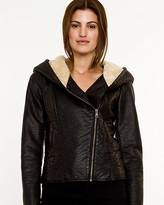 Le Château Leather-Like Hooded Jacket