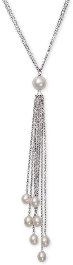 Belle de Mer Cultured Freshwater Pearl (6 and 8-1/2mm) Long Lariat Necklace in Sterling Silver