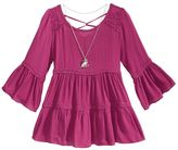 Beautees Lace-Trim Peasant Top and Necklace Set, Big Girls (7-16)