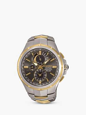 Seiko SSC376P9 Men's Coutura Chronograph Two Tone Bracelet Strap Watch, Multi/Black