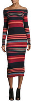Ella Moss Striped Off-the-Shoulder Ribbed Midi Dress, Scarlet Multi