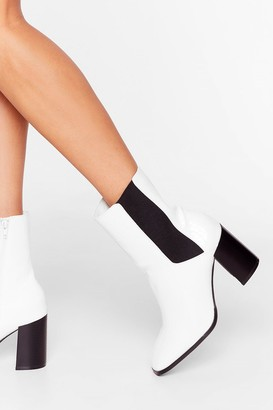 Nasty Gal Womens Step By Sometime Faux Leather Chelsea Boots - White - 3