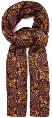 Etro Paisley & Ikat Printed Padded Silk Faille Scarf - Womens - Black