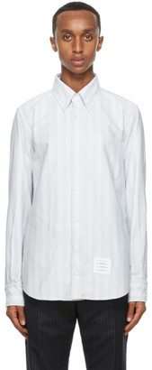 Thom Browne Grey Oxford Straight Fit Shirt
