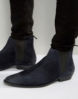 Asos Pointed Chelsea Boots in Navy Suede