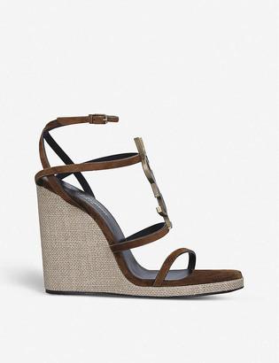 Saint Laurent Cassandra 115 leather wedge-heeled sandals