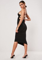 Missguided Black Slinky Lace Up Asymmetric Ruched Midi Dress