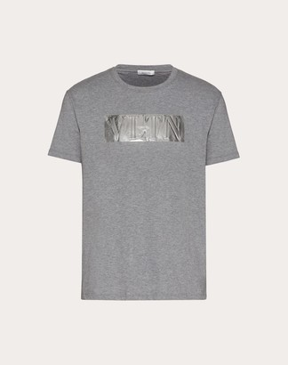 Valentino Laminated Embossed Vltn T-shirt Man Grey XL