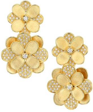 Marco Bicego Petali 18K Yellow Gold & Diamond Pave Large Double-Drop Flower Earrings