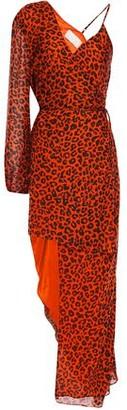 Mason by Michelle Mason Asymmetric Layered Leopard-print Silk-chiffon Mini Dress