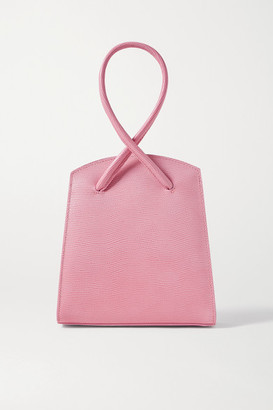Little Liffner Twisted Small Lizard-effect Leather Tote - Baby pink