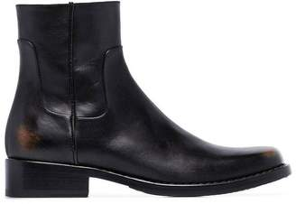 Raf Simons leather squared ankle boots