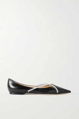Jimmy Choo Genevi Crystal-embellished Leather Point-toe Flats - Black