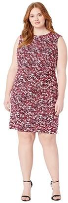 Nic+Zoe Plus Size Bright Burst Twist Dress (Pink Multi) Women's Clothing