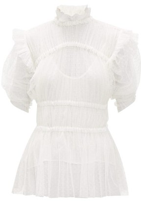 Romance Was Born Frolic Ruched Polka-dot Tulle Top - Womens - Ivory