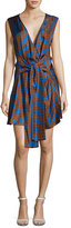 Diane von Furstenberg Crossover Sleeveless Tie-Front Silk Dress, Multi