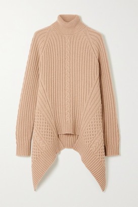 Alexander McQueen Asymmetric Cable-knit Wool And Cashmere-blend Turtleneck Sweater - Sand