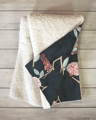 Express Deny Designs Floralista Sherpa Throw Blanket