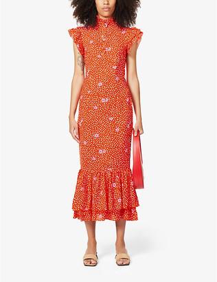 NEVER FULLY DRESSED Amelia floral print crepe midi dress