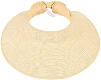 Noblescore Womens Wide Brim Straw Sun Hat UPF 50+ Packable Roll Up Sun Visor Beige White