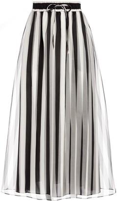Alice + Olivia Dixie striped drawstring waist skirt