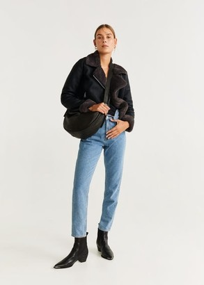 MANGO Faux-fur lapels biker jacket black - M - Women