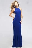 Faviana Charming High Neck Jersey Dress with Cutout Sheer Back 7779