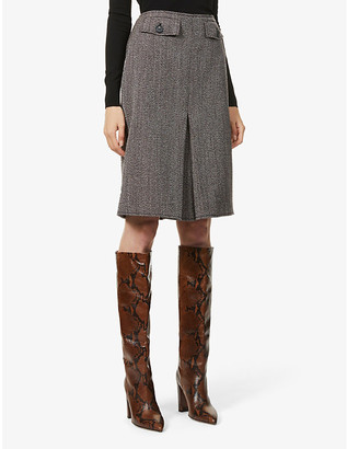 Victoria Beckham Woven-pattern high-waisted wool mini skirt