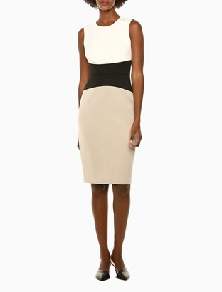 Calvin Klein Colorblock Cinch Waist Sleeveless Sheath Dress