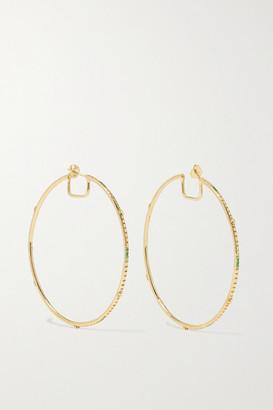 Loree Rodkin Giant Disco 18-karat Gold Tsavorite Hoop Earrings