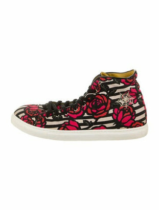 Charlotte Olympia Printed Embroidered Accent Sneakers