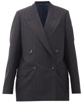 Acne Studios Janny Double-breasted Striped Wool Jacket - Womens - Navy