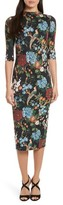 Alice + Olivia Women's Delora Print Fitted Midi Dress