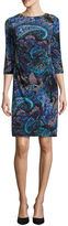 Ronni Nicole 3/4 Sleeve Paisley Sheath Dress-Petites