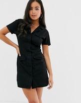 Asos Design DESIGN denim pocket detail mini shirt dress