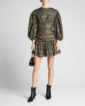 Rhode Resort Donna Geo-Print Metallic Blouson-Sleeve Dress