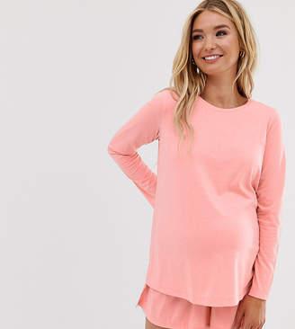 Asos DESIGN Maternity mix & match long sleeve pyjama jersey top-Red