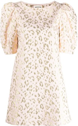 Semi-Couture Leopard-Pattern Shift Dress