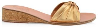 Ancient Greek Sandals Mimi Metallic Leather Wedge Mules