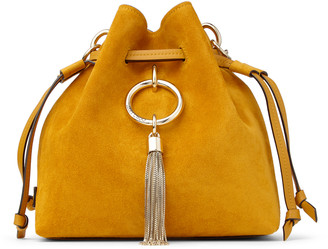Jimmy Choo CALLIE DRAWSTRING/S Ocra Suede Bucket Bag with Chain Strap